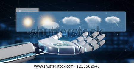 View of a robot hand holding a Weather Forecast widget 3d rendering