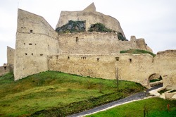 View of a Rupea feudal castle placed on a hill in Brasov county, Romania