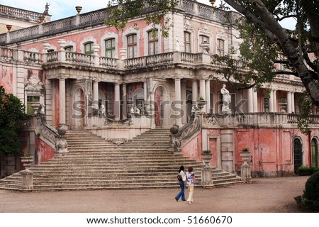 View of a section of the beautiful Queluz Palace located on Lisbon, Portugal