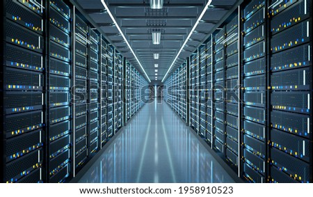 View of a Server room data center - 3d rendering Stock photo ©