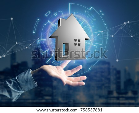 View of a Shinny silver house displayed on a futuristic interface - 3d rendering #758537881