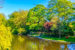 View of a small pond in the Saint Stephen's Green park in Dublin, Ireland