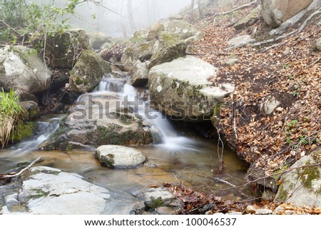 View of a small waterfall in the Montseny Natural Park, Barcelona