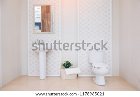 View of a spacious and elegant bathroom. Modern spacious bathroom with bright tiles with toilet and sink.