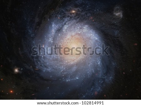 View of a spiral galaxy in far space