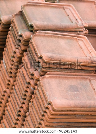 View of a stack of ceramic roof tiles
