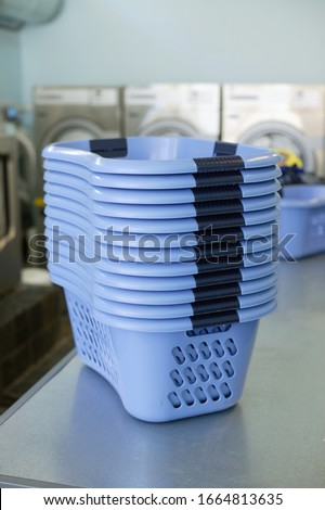 View of a stack of laundry baskets