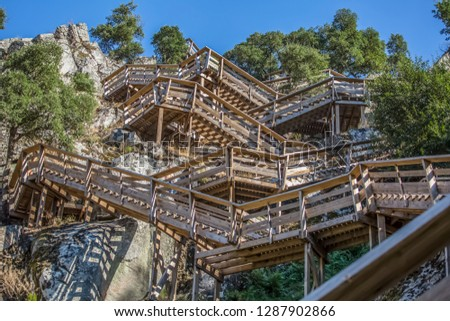 View of a stairs on wooden suspended pedestrian walkway on mountains, overlooking the Paiva river, in Arouca, Portugal