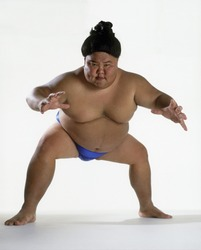 View of a sumo wrestler ready to fight