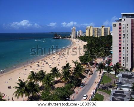 View of a sunny day in Isla Verde Beach, San Juan, Puerto Rico