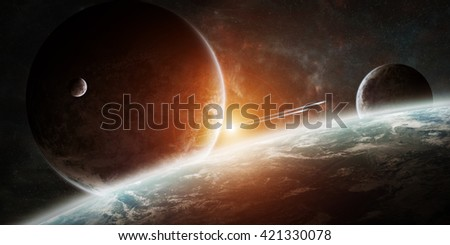Stock Photo View of a sunrise on a distant planet system in space '3D rendering' 'elements of this image furnished by NASA'