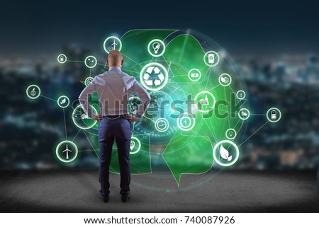 View of a Technology ecologic interface with icon displayed on a technology interface #740087926