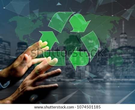 View of a Technology ecologic interface with world map on the background - Ecology concept #1074501185
