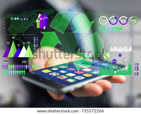 View of a Technology ecologic interface with world map on the background - Ecology concept #735572266