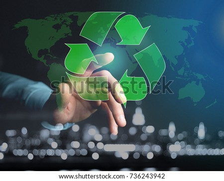 View of a Technology ecologic interface with world map on the background - Ecology concept #736243942