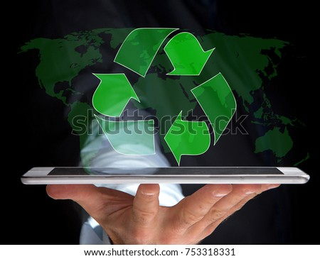 View of a Technology ecologic interface with world map on the background - Ecology concept #753318331