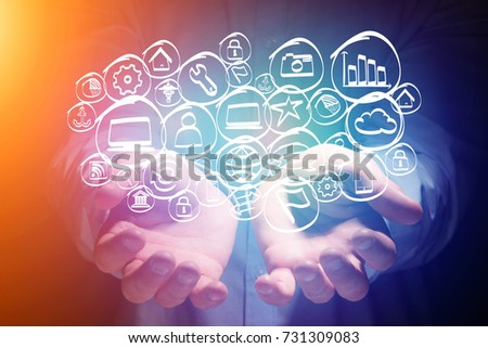 View of a Technology hand drawn icon displayed on a  futuristic interface - multimedia concept concept