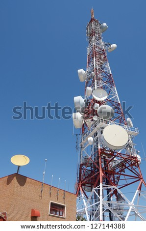 view of  a telecommunications tower with a clear blue sky