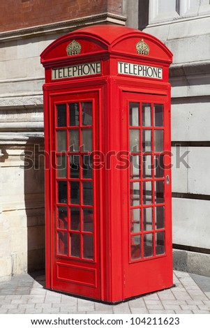 View of a traditional red London phone booth