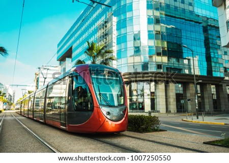 view of a tram passing on railways in the financial district - Casablanca - Morocco