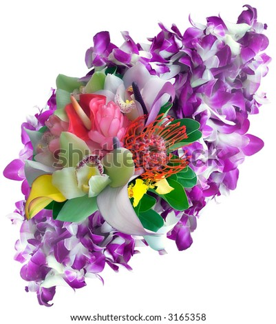 View of a tropical bridal bouquet, tropical flowers