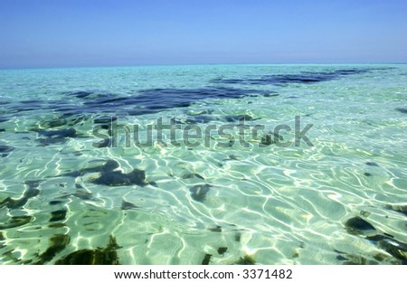 View of a tropical lagoon and its crystal clear water