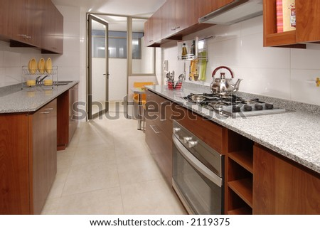 view of a typical apartment kitchen