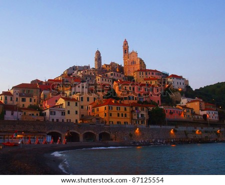 View of a typical fisherman village, Cervo, Liguria, Italy