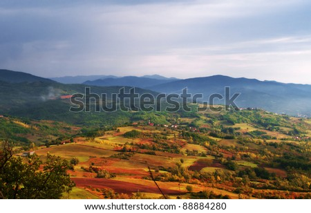 View of a valley in the Apennines, Piedmont, Italy