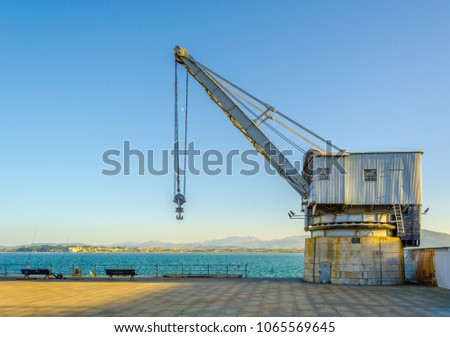 view of a vintage crane in the...