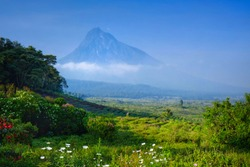 View of a volcano in the Virunga National Park in the Democratic Republic of Congo, Africa
