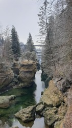 view of a waterfall on a river called traun in upper austria the picture was taken on a cold december day