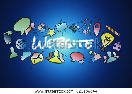 View of a Website title isolated on a background and surounded by multimedia icons - Internet concept #621186644