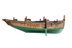 view of a wooden fishing boat isolated on white background