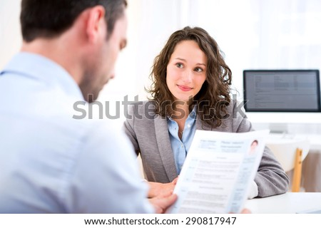 View of a Young attractive woman during job interview Foto stock ©