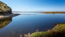 View of Abbotts Lagoon, Point Reyes National Seashore, Marin County, California, USA,  on a clear day  nd cloudless sky and lots of copy-space