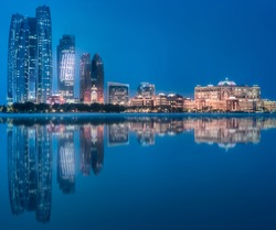 View of Abu Dhabi Skyline at evening time, United Arab Emirates
