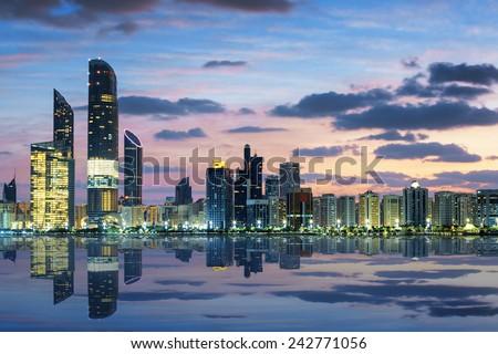 View of Abu Dhabi Skyline at sunset, United Arab Emirates  #242771056