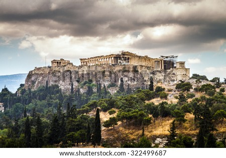 View of Acropolis on a rainy day, Parthenon, Athens, Greece