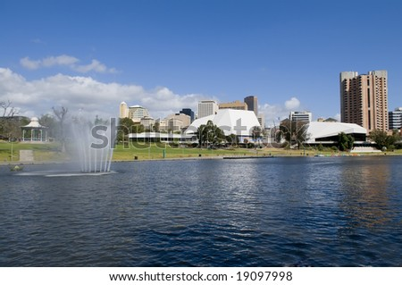 View of Adelaide skyline from northern side of river torrens