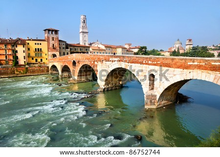 View of Adige river and St Peter bridge, Verona, Italy.