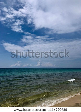 View of Aegean Sea beach at the Greek island Thasos