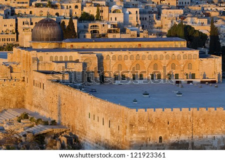 View of Al Aqsa Mosque in Jerusalem at sunrise time