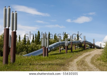 View of Alaska pipeline leaving ground along the Richardson Highway between Glennallen, AK and Fairbanks, AK.