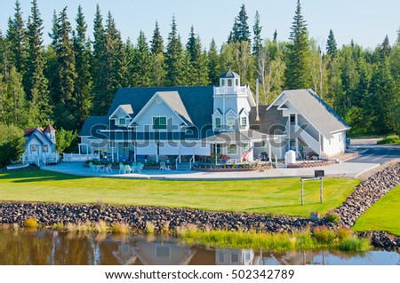 View of Alaskan home from a river in Fairbanks.