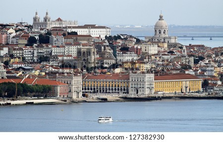 View of Alfama and Graca - the old quarters of Lisbon  Portugal