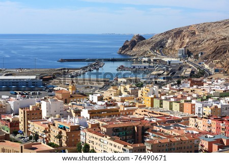 View of Almeria Bay seen from the Alcazaba.