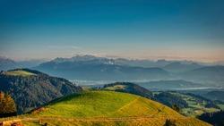 View of Alp Scheidegg and the mountains of Glarus. Picture taken in the Zurich Oberland