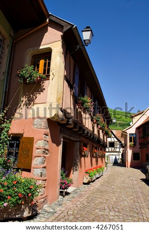 View of Alsace typical traditional street (Turckheim, France)