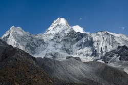 View of Ama Dablam from Ama Dablam Basecamp (4.570m) in Nepal
